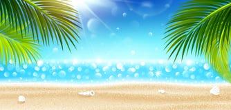 Vacanze estive sulla spiaggia tropicale Vettore Fotografie Stock Libere da Diritti