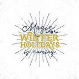 Vacanze invernali magiche, etichetta di tipografia di Natale Retro distintivo di tipografia di natale Fotografie Stock Libere da Diritti