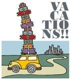 Vacanze: un'automobile che funziona a partire dalla città. Fotografie Stock Libere da Diritti
