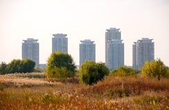 Vacaresti自然公园地区和城市摩天大楼 库存图片