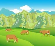 Vacas en los prados alpinos Gama de montañas y valle verde ilustración del vector