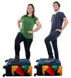 Vacat de viagem do curso dos jovens do saco da bagagem da mala de viagem da embalagem imagens de stock royalty free