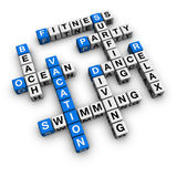 Vacation. Summer vacation  (blue-white cubes crossword series Stock Photography