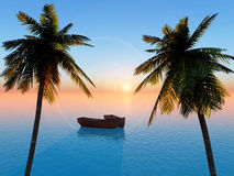 Vacation. Dreaming about your last or next vacation on a tropical island with palms Royalty Free Stock Image
