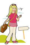 Vacation. Girl leaving on a trip with a suitcase Vector Illustration