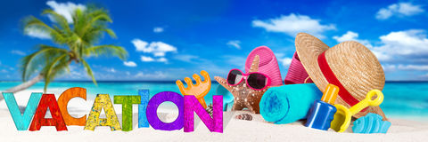 Vacation accessory on tropical paradise beach stock photos