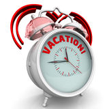Vacation! The alarm clock with an inscription. Alarm clock with the words `VACATION`. 3D Illustration Stock Photography