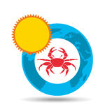 Vacation around world sunny red crab Stock Image