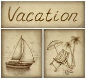 Vacation background. With drawings of chaise lounge and yacht vector illustration