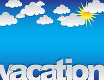 Vacation background. Vacation concept background with the text 'vacation' and many clouds on a blue background Stock Images
