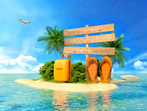 Vacation background. Beach with palm tree, suitcase Royalty Free Stock Photo