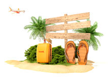 Vacation background. Beach with palm tree Stock Image