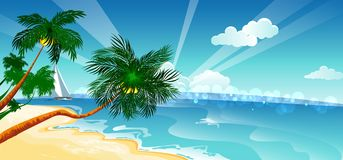 Vacation background. Beach with palm trees and blue sea. Royalty Free Stock Images