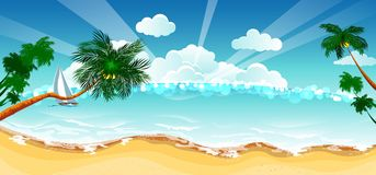 Vacation background. Beach with palm trees and blue sea. Stock Photos