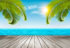 Vacation background. Beach with palm trees and blue sea. Vector Stock Image