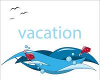 Vacation background sea fish wave Stock Image
