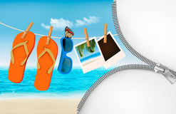 Vacation background with a zipper. Flip flops, sunglasses, photo Royalty Free Stock Photography
