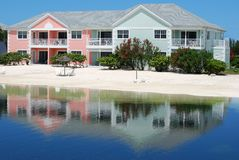 Vacation In The Bahamas. Reflections of vacation houses in Nassau, the capital of The Bahamas Stock Image