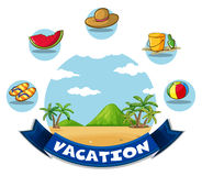 Vacation banner with beach and toys Royalty Free Stock Image
