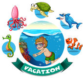 Vacation banner with man diving underwater Stock Photo