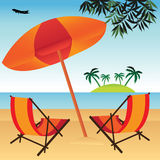 Vacation on a beach royalty free illustration