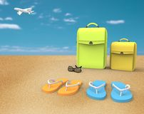 Vacation at the beach. Bags Royalty Free Stock Photography