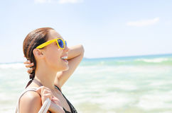 Vacation beach beautiful woman smiling. Royalty Free Stock Images