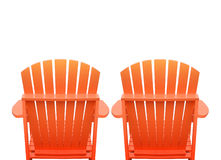 Vacation Beach Chairs on White. Two orange beach chairs are isolated on a white background for a vacation getaway or relaxation concept Stock Photography