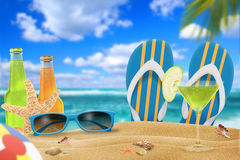 Vacation on the beach. With a cocktail Royalty Free Stock Images