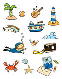 Vacation on the beach. Cute cartoons about beach and beach Stock Images
