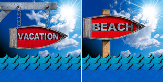Vacation and Beach Directional Sign. Two directional signs in the shape of row boat with text Vacation and Beach on a blue sky with clouds, sun rays and blue Royalty Free Stock Photo