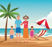 Vacation on the beach family. Avatar cartoons vector illustration graphic design vector illustration