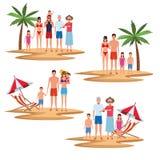 Vacation on the beach family. Set vacation on the beach family avatar cartoons vector illustration graphic design vector illustration