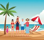 Vacation on the beach family. Avatar cartoons vector illustration graphic design stock illustration