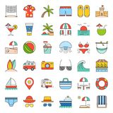 Vacation on the beach filled icon set. Vacation on the beach, filled outline icon set Royalty Free Stock Photography