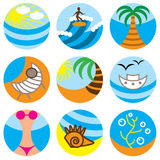 Vacation on beach icons Stock Image