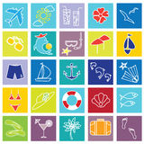 Vacation and beach icons. Royalty Free Stock Photos