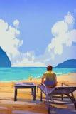 Vacation at the beach. Man sitting on deckchair at the beach, illustration,summer vector illustration