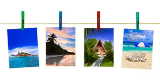 Vacation beach photography on clothespins Stock Images