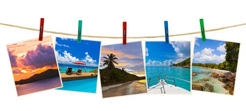 Vacation beach photography on clothespins Stock Photos