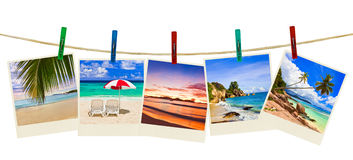Vacation beach photography on clothespins Royalty Free Stock Photography