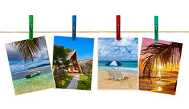 Vacation beach photography on clothespins Stock Image