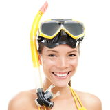 Vacation beach swimming woman isolated. Woman with goggles and snorkel. Snorkeling, swimming, vacation concept isolated on white background. Chinese Asian / stock photography