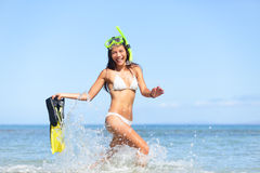 Vacation beach woman happy fun snorkeling Stock Photos