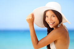 Vacation beach woman smiling happy portrait Stock Images