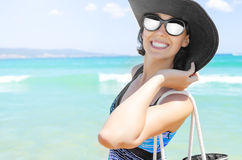 Vacation beach woman smiling happy portrait Royalty Free Stock Photo
