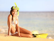 Vacation beach woman snorkeling Royalty Free Stock Photography