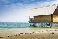 Vacation cabin on beach in Caribbean Royalty Free Stock Photo