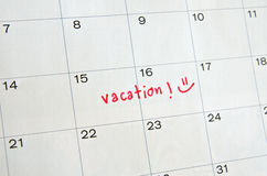 Vacation on Calendar Royalty Free Stock Photography