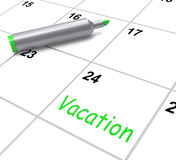 Vacation Calendar Shows Day Off Work Or Holiday Royalty Free Stock Images